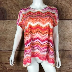 Chicos Top High Low Multicolored 2 (a30) B